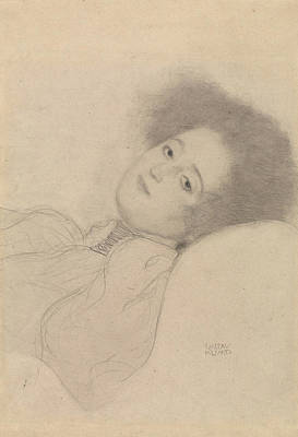 Portrait Of A Young Woman Reclining Poster by Gustav Klimt