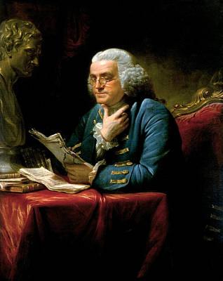 Portrait Of Benjamin Franklin Poster by David Martin