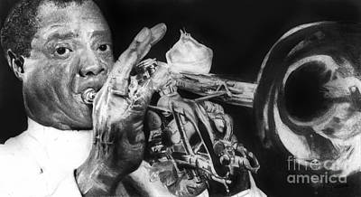 Portrait Of Louie Armstrong Poster by Carrie Jackson