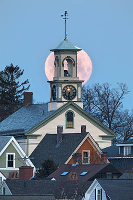 Portsmouth Moon And Steeple Poster by Eric Gendron