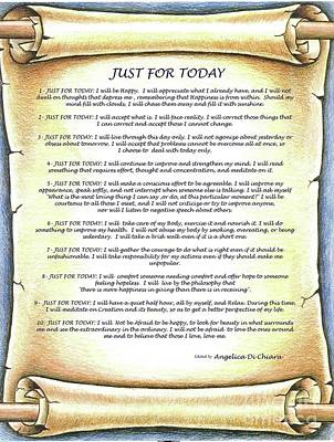 Positive Thinking- Just For Today Poster by Italian Art