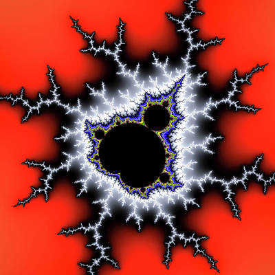 Powerful Trippy Mandelbrot Set Red Silver Black Poster by Matthias Hauser