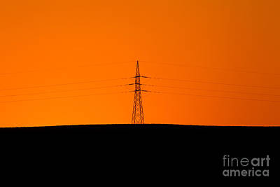 Powerline Sunset Silhouette Poster by Bill  Robinson