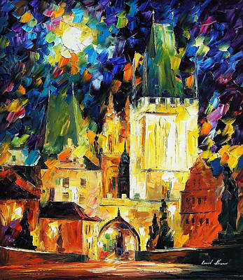 Prague 2 - Palette Knife Oil Painting On Canvas By Leonid Afremov Poster by Leonid Afremov