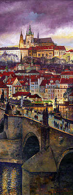 Prague Charles Bridge With The Prague Castle Poster by Yuriy  Shevchuk