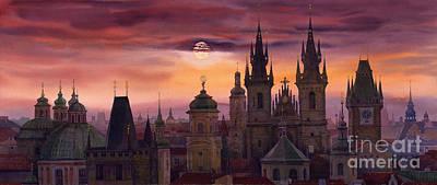 Prague City Of Hundres Spiers Poster by Yuriy  Shevchuk