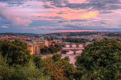 Prague In Pink Poster by Nico Trinkhaus