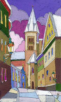 Prague Old Street Jilska Winter Poster by Yuriy  Shevchuk