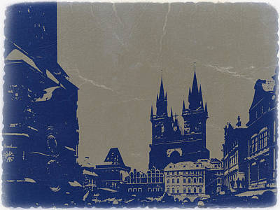 Prague Old Town Square Poster by Naxart Studio