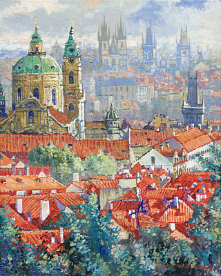 Prague Summer Panorama 1 Poster by Yuriy Shevchuk