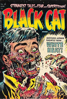 Pre Code Black Cat 50 Radium Eating Ghoul Poster by Halloween Dreams