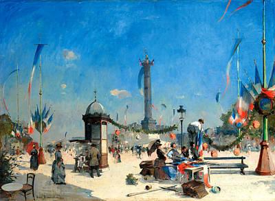 Preparations For 14 July Celebrations In Place De La Bastille Poster by Louis Jules Dumoulin
