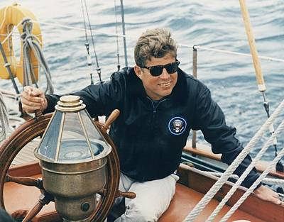 President Kennedy Sailing Aboard The Us Poster by Everett
