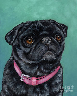 Pretty In Pink - Pug Dog Painting By Michelle Wrighton Poster by Michelle Wrighton