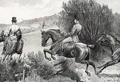 Prince Albert Hunting Near Belvoir Castle  Poster by English School