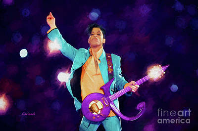 Prince On Stage At The Super Bowl Poster by Garland Johnson