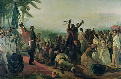 Proclamation Of The Abolition Of Slavery In The French Colonies Poster by Francois Auguste Biard
