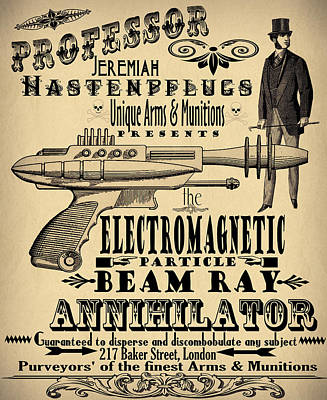 Professor H And His Ray Gun Poster by Cinema Photography