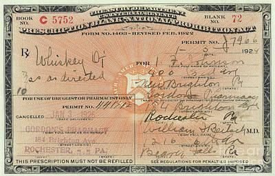 Prohibition Prescription For Whiskey Poster by Jon Neidert