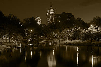 Prudential Over The Charles River Sepia Poster by Toby McGuire