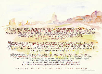 Psalm 23 Navajo Version  Poster by Judy Dodds