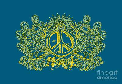 Psychedelic Art Peace Will Come Peace Sign And Love Poster by Paul Telling