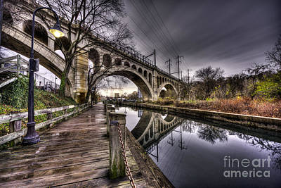 Puddles Under The Manayunk Bridge Poster by Mark Ayzenberg