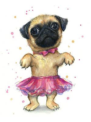 Pug In A Tutu Poster by Olga Shvartsur