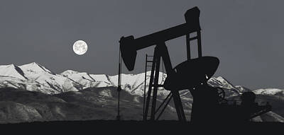 Pump Jack Moonlight B W Poster by Daniel Hagerman