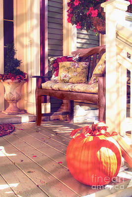 Pumpkin Porch Poster by Mindy Sommers