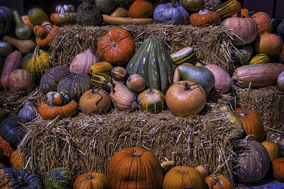 Pumpkins And Hay Blaes Poster by Garry Gay