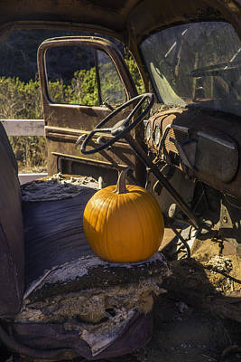 Punpkin On Old Truck Seat Poster by Garry Gay