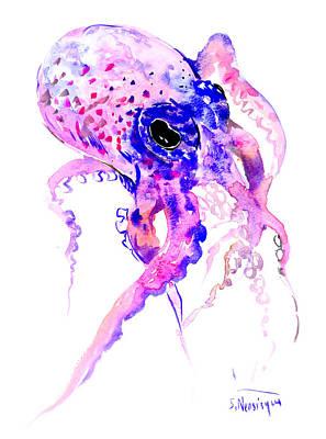 Purple Blue Octopus Poster by Suren Nersisyan