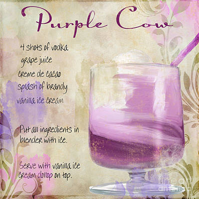 Purple Cow Mixed Cocktail Recipe Sign Poster by Mindy Sommers
