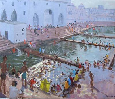 Pushkar Ghats Rajasthan Poster by Andrew Macara