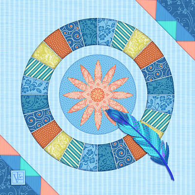 Q Is For Quilt And Quill Poster by Valerie Drake Lesiak