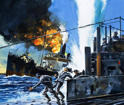 Q Ships During World War One Poster by Wilf Hardy