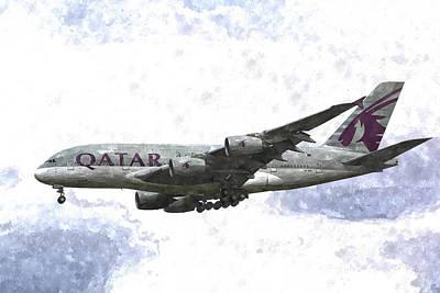 Qatar Airlines Airbus A380 Art Poster by David Pyatt