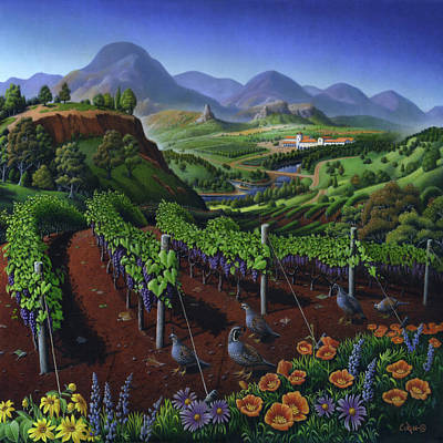 Quail Strolling Along Vineyard Wine Country Landscape - Square Format - Folk Art - Viticulture Poster by Walt Curlee