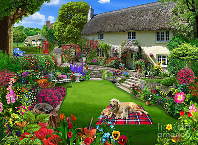 Quaint Country Cottage Poster by Gerald Newton