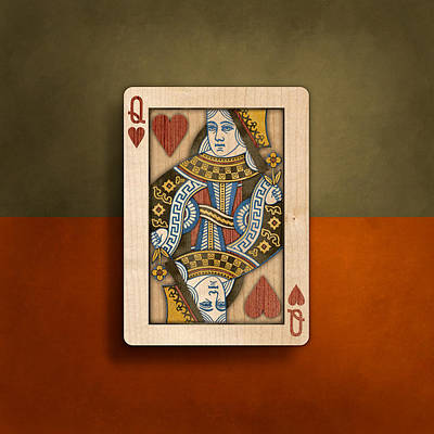 Queen Of Hearts In Wood Poster by YoPedro