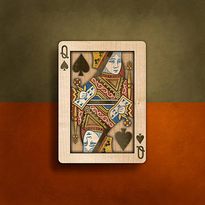 Queen Of Spades In Wood Poster by YoPedro