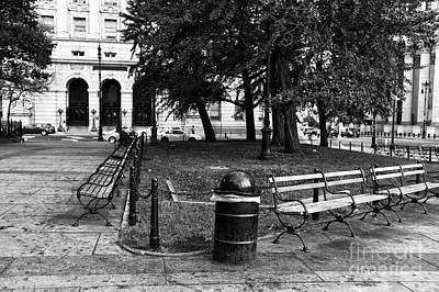 Quiet In City Hall Park Mono Poster by John Rizzuto
