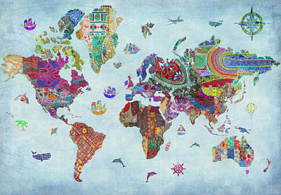 Quilted World Map Poster by Aimee Stewart