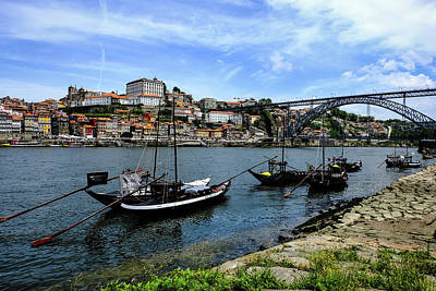 Rabelo Boats And Porto Skyline Poster by Marco Oliveira