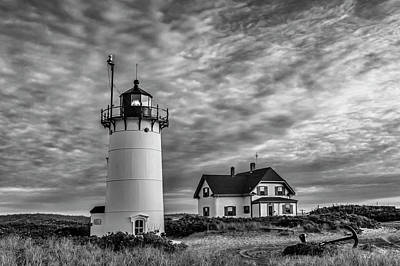 Race Point Lighthouse Sunset Bw Poster by Susan Candelario