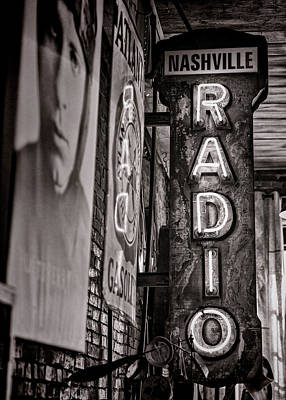 Radio Nashville - Monochrome Poster by Stephen Stookey