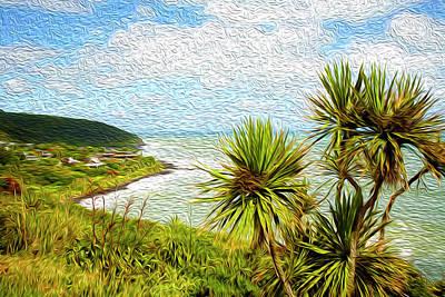 Raglan Coastline Poster by Les Cunliffe