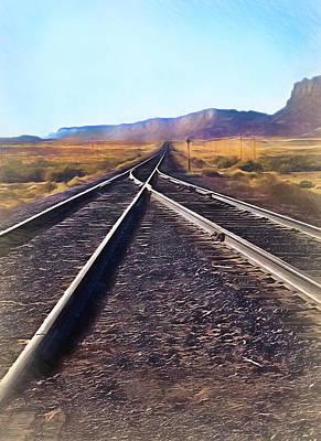 Railroad Tracks Into Horizon - Painterly Poster by Steve Ohlsen
