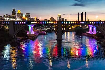 Rainbow Bridge In Minneapolis Poster by Jim Hughes